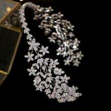 Luxury wedding hair band wedding hair accessories bride crystal headdress handmade ethnic headdress zirconia crown