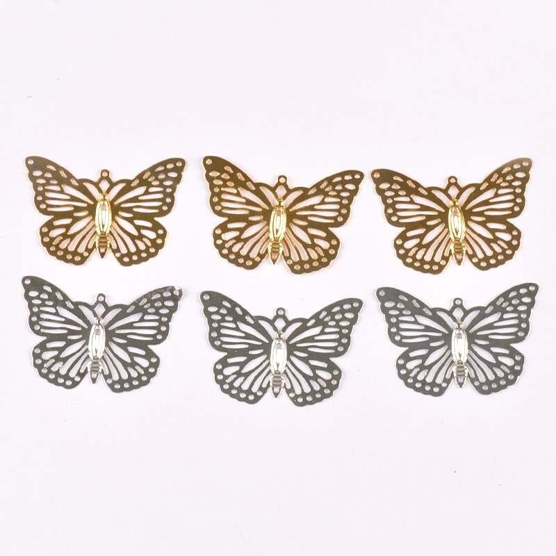 20 pçs prata ouro filigrana envolve conectores borboleta flor artesanato decoração presente diy descobertas jóias fazendo ykl0768