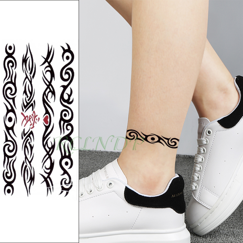 Waterproof Temporary Tattoo Sticker Chinese Love Heart Totem Band Fake Tatoo Flash Waist Arm Leg Foot Tatto For Girl Women Men