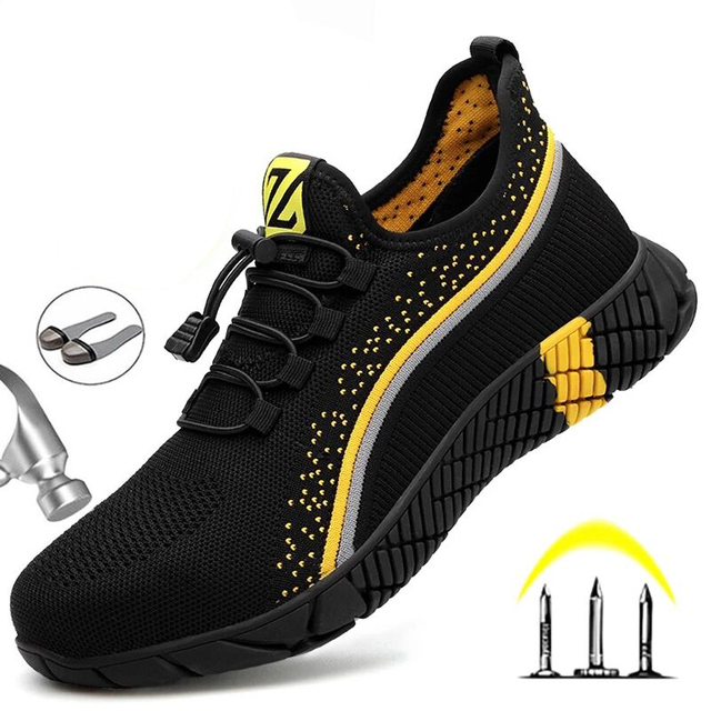 Breathable Safety Shoes Men Work Safety Boots Steel Toe Shoes Puncture-proof Men's Boots Work Sneakers Indestructible Shoes 46