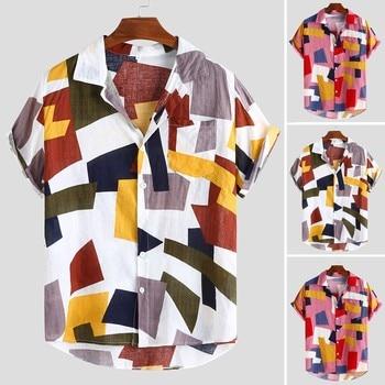 Summer Man Shirt Mens Ethnic Printed Stand Collar Fashion Mens Printed Hawaiian Loose Short Sleeve Casual Buttons Shirt 1