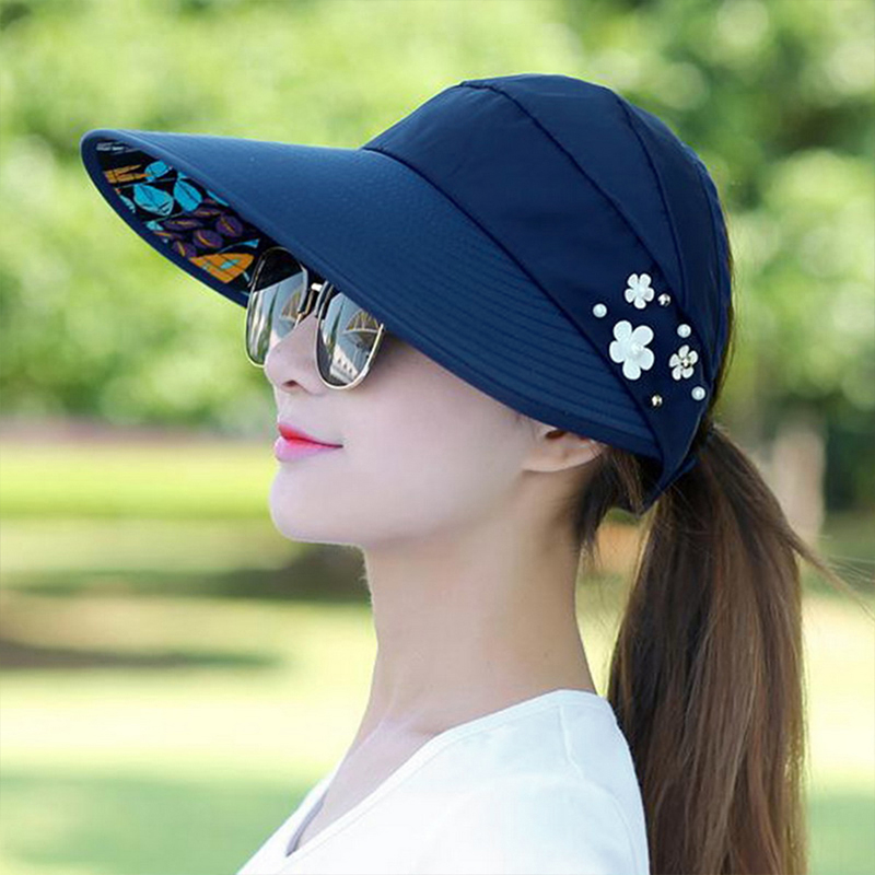 LOOZYKIT New Arrival UV Protection Women Summer Beach Sun Hats Pearl Packable Sun Visor Hat With Big Heads Wide Brim Female Cap