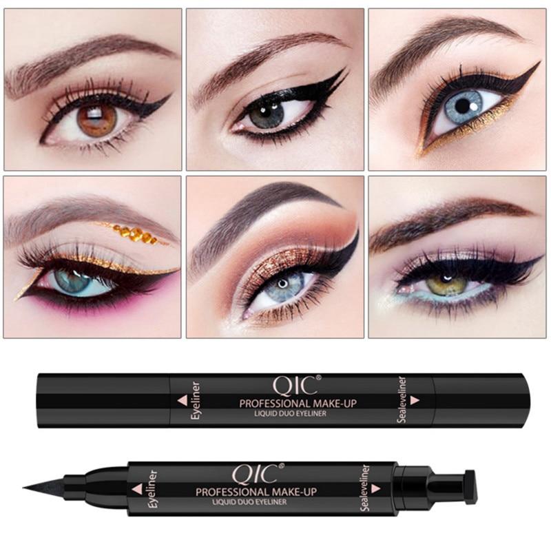 Жидкая подводка для глаз ручка для макияжа легко носить Сексуальная быстросохнущая двойная головка штамп Черный Гладкий жидкий карандаш подводка для глаз Косметика TSLM1|Подводка|   | АлиЭкспресс