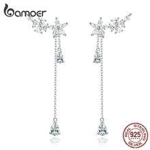 bamoer Long Tassel Drop Dangle Earrings for Women Wedding Genuine 925 Sterling Silver Fine Jewelry Brincos New Moda BSE288