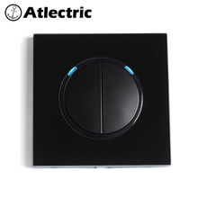 Atlectric Wall Light Switch With LED Indicator Black Tempered Glass Panel ON/OFF Button Switch Lamp Light 86Type