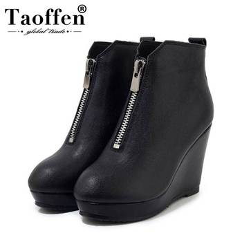 Taoffen Women Ankle Boots Real Leather Simple Zipper Solid Color Wedges Shoes Autumn Winter Daily Women Footwear Size 33-40