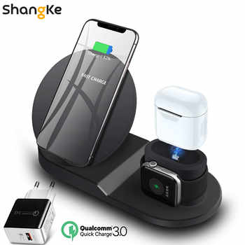 Support de chargeur sans fil pour iPhone AirPods Apple Watch, chargeur de Station de Charge Dock pour Apple Watch Series 4/3/2/1 iPhone X 8 XS