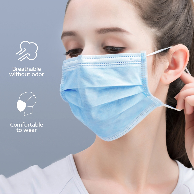 3 Ply Blue Mask Anti-Dust Disposable Salon Earloop Face Mouth Masks Facial Mask Essential For Going Out