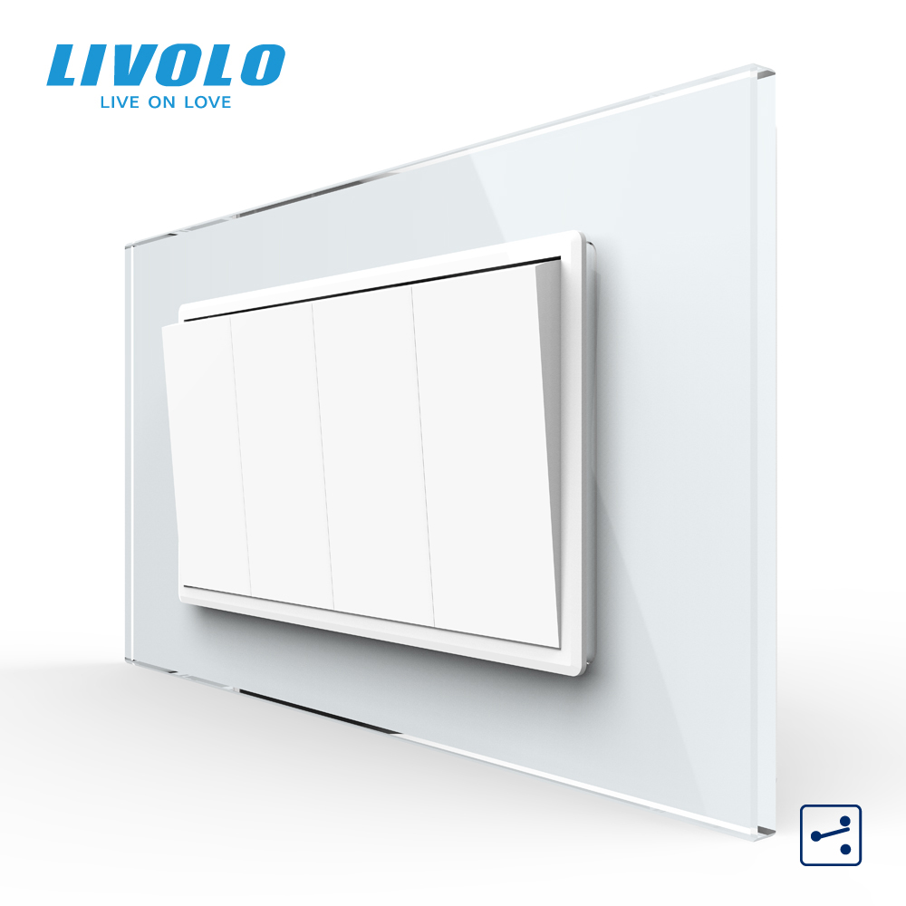 Livolo C9 US AU Standard 90mm Luxurious Telephone Com TV  SATV Aiduo Socket, White Pearl Crystal Glass Panel, Socket Plugs
