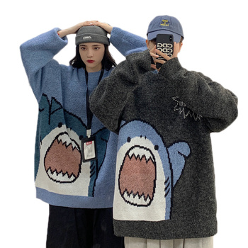Harajuku Shark Knitting Sweater Women Sweet Autumn Winter Casual Long Tide Printed Sweater Couple Warm Loose Pullovers Oversized [eam] oversized knitting sweater loose fit turtleneck long sleeve women pullovers new fashion tide spring autumn 2020 19a a43
