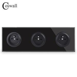 Image 2 - Coswall קריסטל מזג טהור זכוכית פנל 16A לשלושה צרפתית סטנדרטי קיר שקע חשמל מעוגן עם ילד מגן נעילה