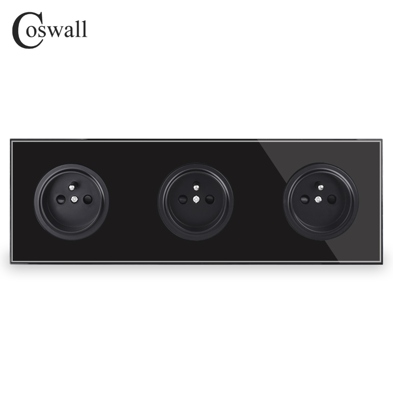 Image 2 - Coswall Crystal Tempered Pure Glass Panel 16A Triple French Standard Wall Power Socket Grounded With Child Protective LockElectrical Sockets   -