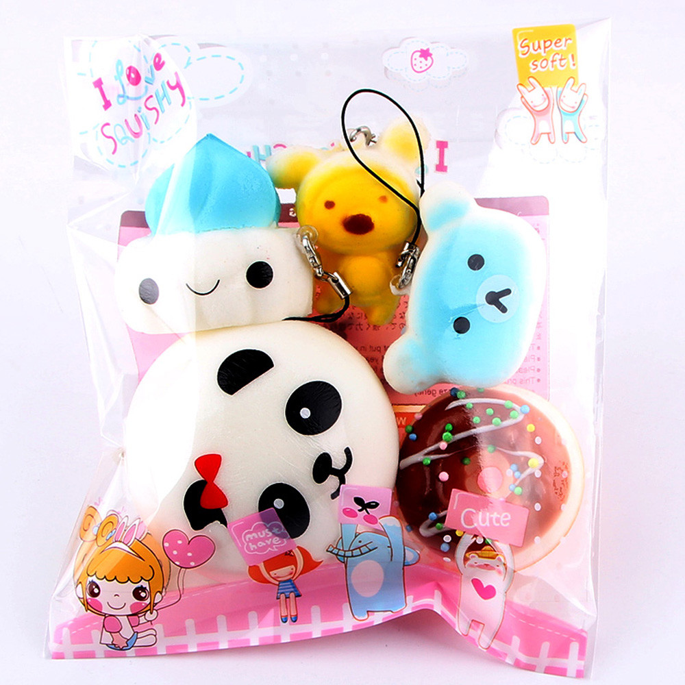 5Pcs Cute Kawaii Soft Squishy Medium Mini Soft Squishy Bread Toys Key Toys Decompression Fun Toys For Child @A