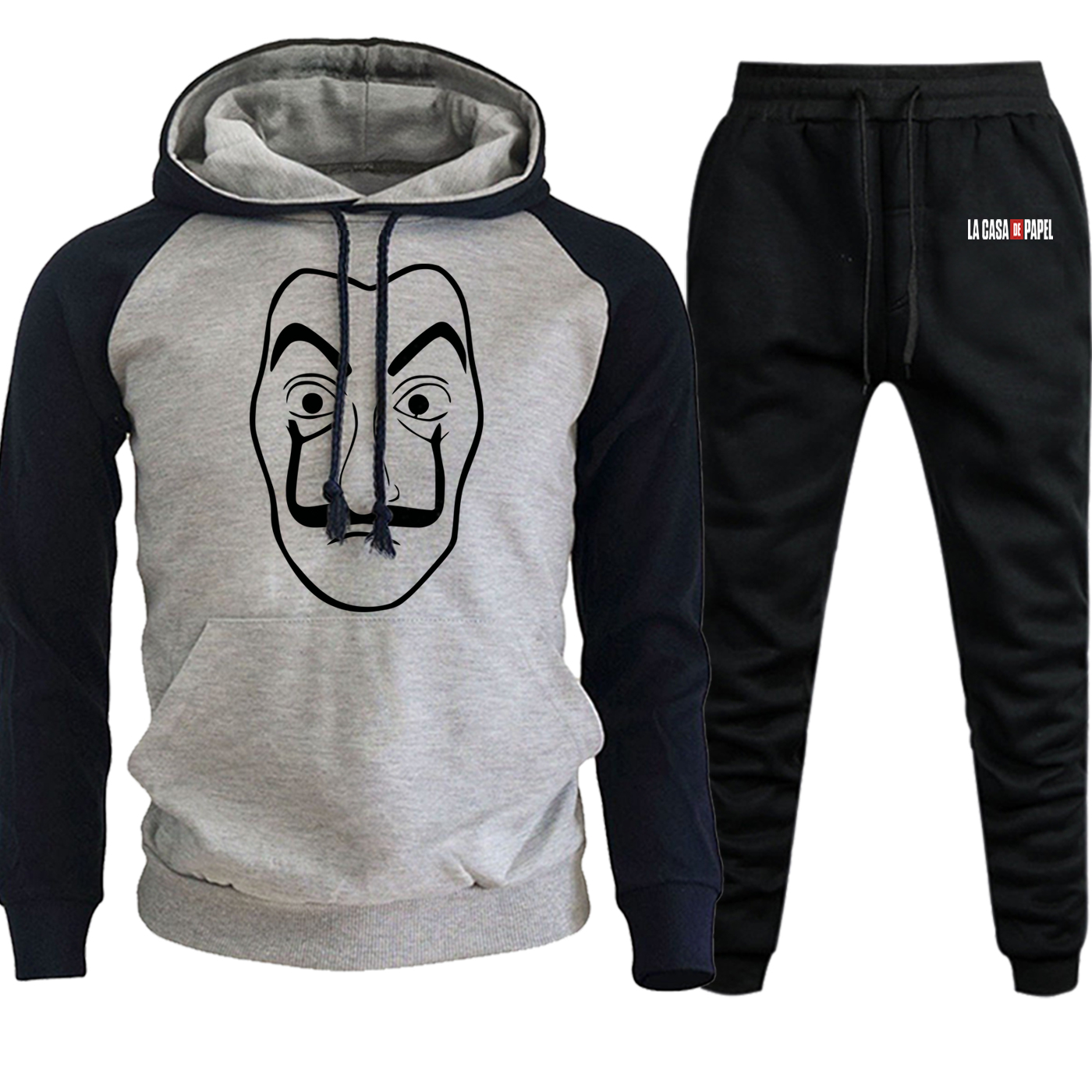La Casa De Papel Streetwear Mens Raglan Hoodies Autumn Winter 2019 Suit Male Casual Pullover Hip Hop Hooded+Pants 2 Piece Set