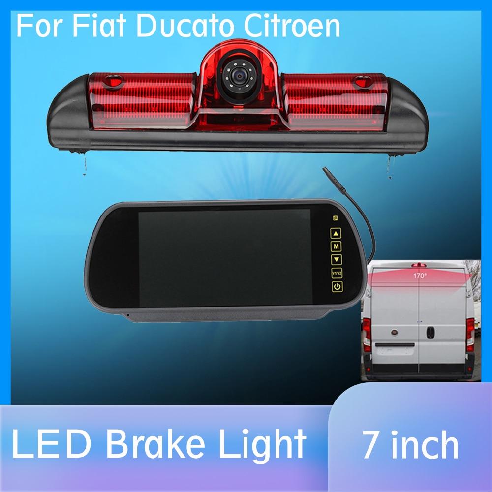 LED IR Brake Light Rear View Reversing Parking Camera  amp  7 Inch Monitor Kit for Fiat Ducato For Citroen Relay for Peugeot Boxer