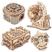Wooden Jewelry Box 3d Assembled Creative Diy Puzzle Wooden Mechanical Transmission Model Assembled Gift Antique Box Model