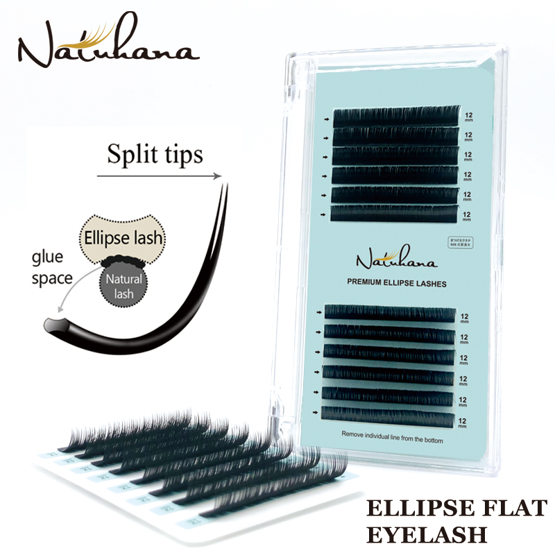 NATUHANA Premium Ellipse Flat Individual Split Tips Eyelash Extension Natural Soft Cilios Matte Mink False Eye Lash Extension
