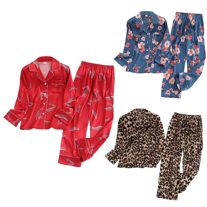 Women Plus Size Autumn Ice Silk 2 Piece Pajamas Set Long Sleeve Buttons Tops Pants Floral Leaves Leopard Print Loose Sleepwear L