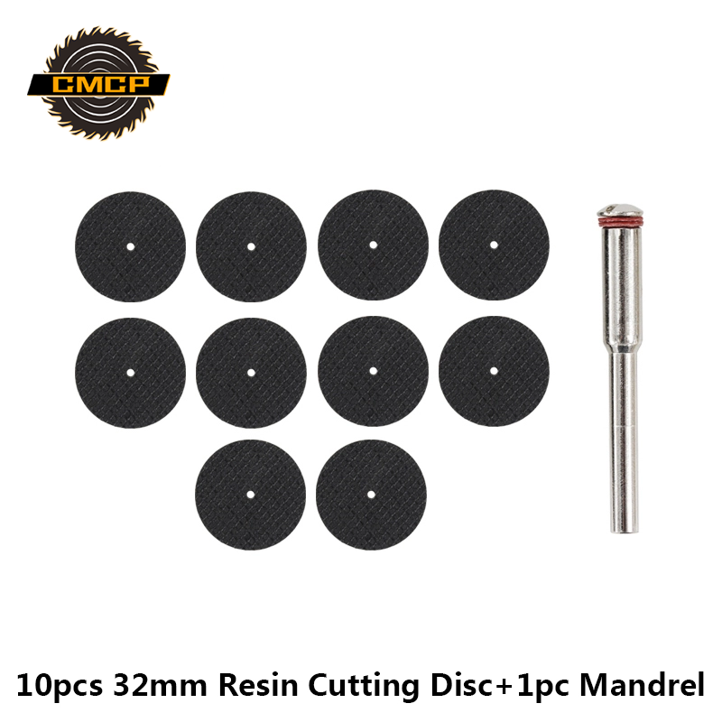 Free Shipping 10pcs 32mm Metal Cutting Disc For Dremel With 1pc 3mm Mandel Resin Grinding Wheel Abrasive Tools Sanding Disc