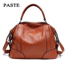 PASTE 2 Sizes Fashion Tote Bags for Women New Classic Leisure Handbags Genuine Cow Leather Female Shoulder Bags bolsa feminina