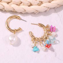 2019 Hoop Earrings Charms Pearl Stone Gold Irregular Earring Jewelry Hoops Candy Colors Fashion Asymmetry Summer Holiday MB033