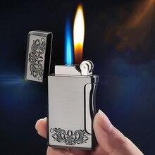 Double Flame Butane Gas Cigar Cigarette Lighter Free Fire Straight Jet Lighter Metal Windproof Torch Turbo Flint Gas Lighter touch windproof butane gas jet lighter black golden