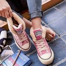 DAHOOD Women Snow Boots 2020 Fashion Plus Velvet Casual Lace Up Canvas Shoes Fem