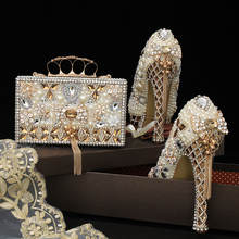 LuxEcho Beige Pearl Wedding shoes with matching bags 14cm high heels Platform shoes woman Party Dress shoe and bag set african lady aso ebi shoes and bag set new italian shoes and clutches bag black elegant stones shoes and bag matching sb8173 4