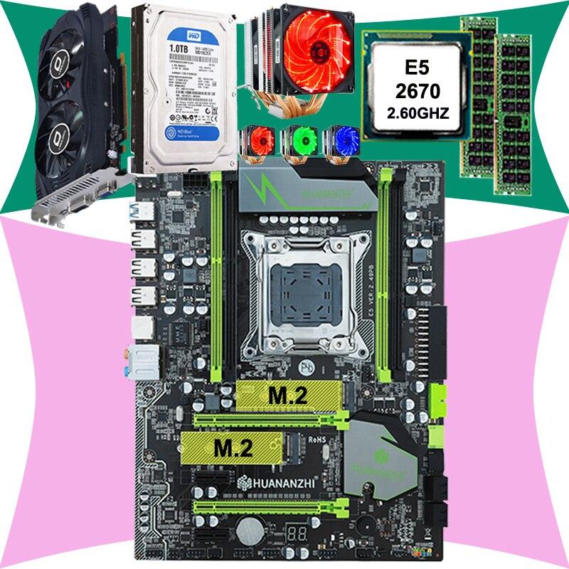 CHAUD! HUANAN X79 carte mère CPU Xeon E5 2670 C2 avec 6 caloducs refroidisseur RAM 16G (2*8G) DDR3 RECC 1 to 3.5 'SATA HDD GTX750Ti 2GD5 VC