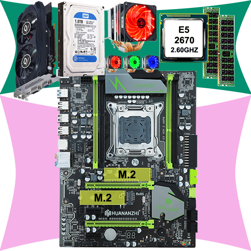 HOT! HUANAN X79 mainboard CPU <font><b>Xeon</b></font> E5 <font><b>2670</b></font> C2 with 6 heatpipes cooler RAM 16G(2*8G) DDR3 RECC 1TB 3.5' SATA HDD GTX750Ti 2GD5 VC image