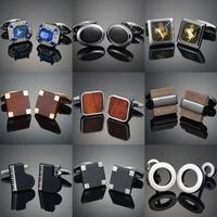 Nouveauté luxe qualité cuivre carbone Fibe/bois rouge/cristal boutons de manchette conception pour hommes costume français accessoires bijoux gemelos