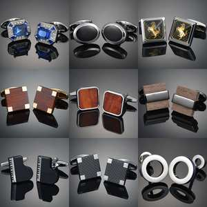 Suit-Accessories Jewellery Cufflinks-Design Gemelos Wood/crystal Mens Luxury Novelty