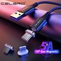 Магнитный зарядный Usb-кабель 1,5/2 метра, кабель Micro Usb Type-C 5A, магнитный кабель для быстрой зарядки и передачи данных для Samsung S20 Note 20 Plus Huawei