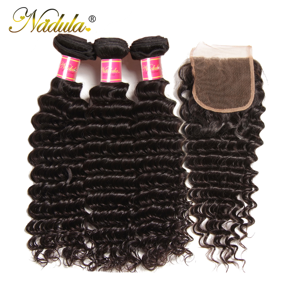 Nadula Deep Wave Bundles with Closure 4x4 Lace Closure Pre plucked With Baby Hair 12-26inch  Bundles with Closur 3