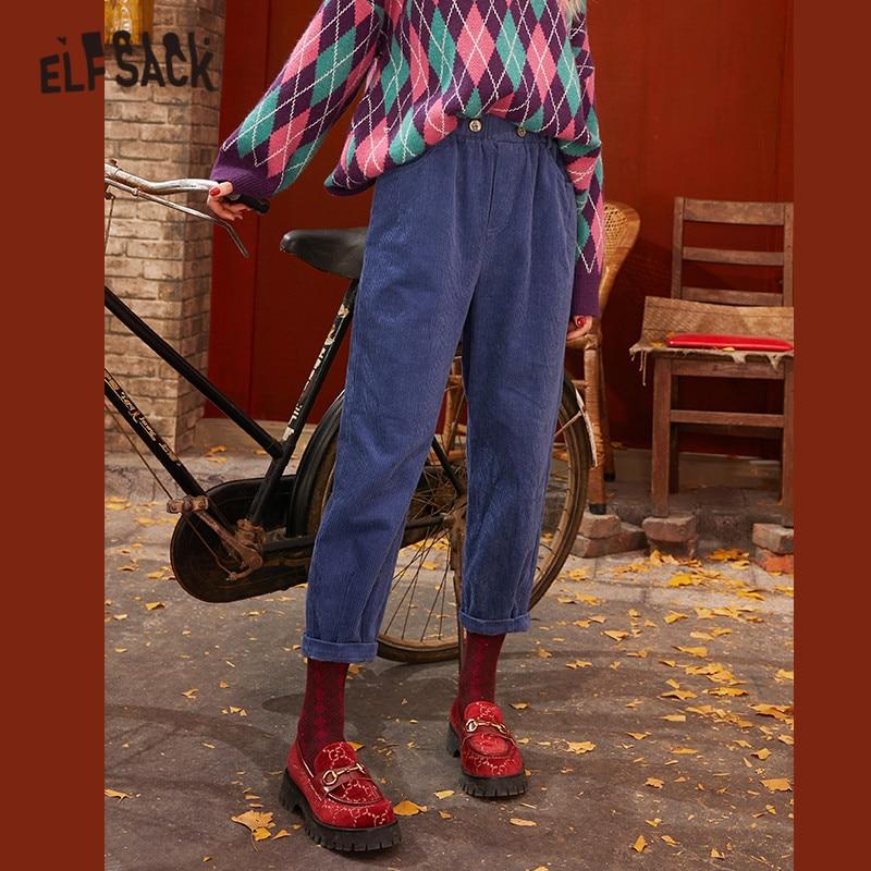 ELFSACK Blue Solid Corduroy Korean Casual Women Pants 2020 Spring Apricot Elastic Waist Straight Ladies Basic Daily Trouser