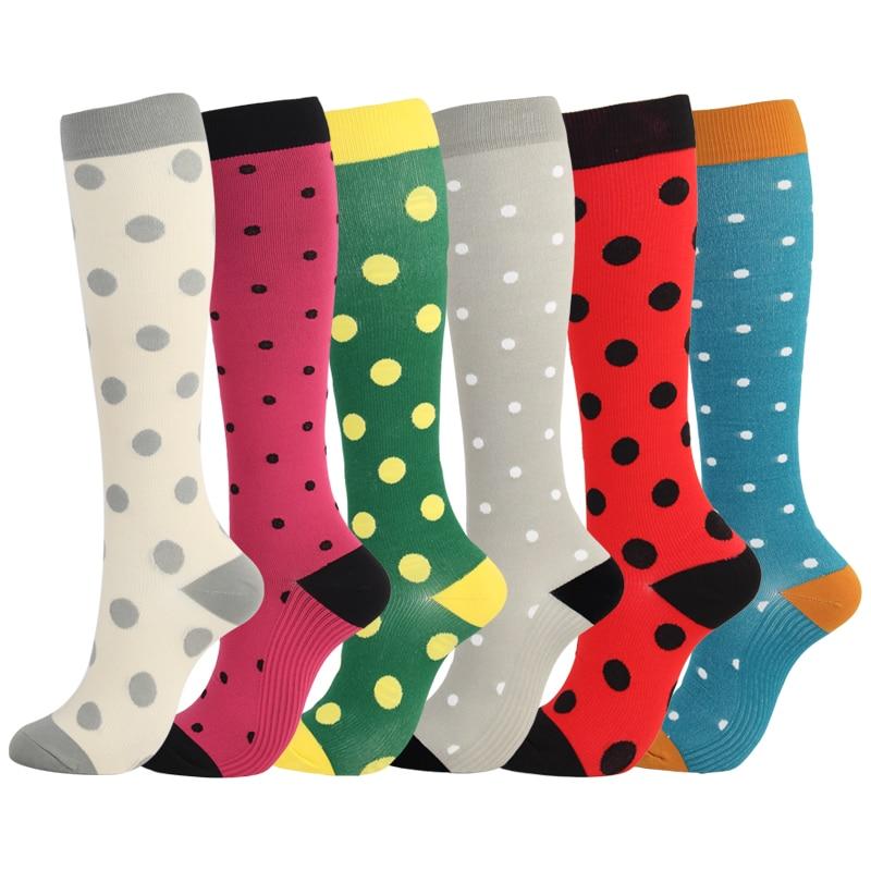 Compression Socks Men Women Nylon Yarn Outdoor Sports High Long Tube Stockings Running Socks Happy Dot Marathon Unisex Fun
