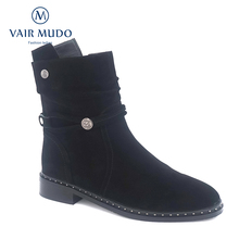VAIR MUDO 2019 New Winter Ankle Boots Women Metal Decoration Round Toe Genuine Leather Lady Warm Shoes DX27