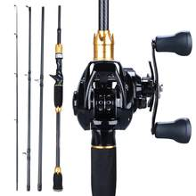 Sougayilang 1.8m 2.1m Casting Fishing Rod and 12+1BB Baitcasting Reel 4 Sections Carbon Rod and Casting Fishing Wheels Set Pesca(China)