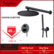 """Brass Black Shower Set Bathroom Faucet Ceiling Or Wall Shower Arm Diverter Mixer Handheld Spray Sets With 8 16"""" Rian Shower Head"""