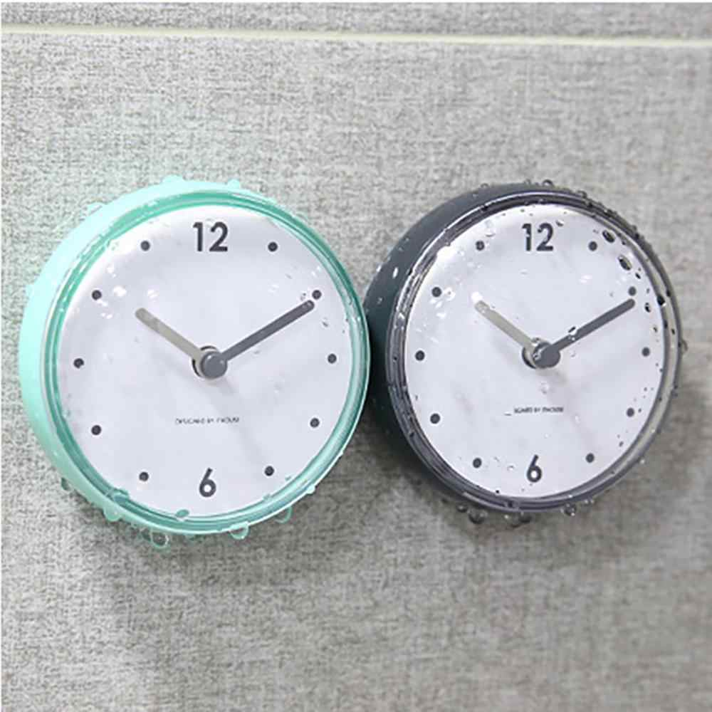 New Bathroom Waterproof Kitchen Clock Suction Cup Silent  Battery  Wall Clock Decor Shower Timer Decor Tiny Toilet 7.5x3.6x7.5cm