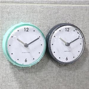 New Bathroom Waterproof Kitchen Clock Suction Cup Silent Battery Wall Clock Decor Shower Timer Decor Tiny Toilet 7.5x3.6x7.5cm(China)