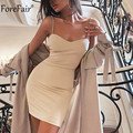 Forefair V ネックのセクシーなチェーンストラップドレスパーティーオフショルダー女性の背中レッドボディコンミニ夏クラブウェアドレス
