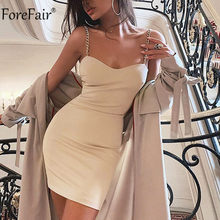 Forefair Leher V Seksi Vintage Rantai Tali Pesta Gaun Off Bahu Wanita Backless Merah Bodycon Mini Musim Panas Clubwear Gaun(China)