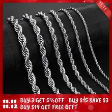 Jiayiqi 2mm 7mm Rope Chain Necklace Stainless Steel Never Fade Waterproof Choker Men Women Jewelry Gold Silver Color Chains Gift