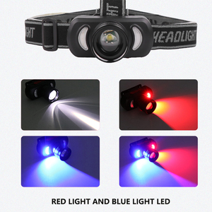 Image 3 - Novo farol usb recarregável farol luz vermelha luz azul cabeça zoom poderoso cabeça lâmpada à prova dwaterproof água para uso ao ar livre
