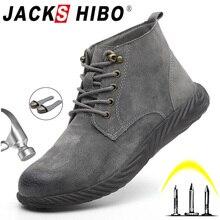 JACKSHIBO ฤดูหนาวความปลอดภัยรองเท้าทำงานสำหรับชาย Anti Smashing เหล็กความปลอดภัยรองเท้าข้อเท้ารองเท้าทำลายรองเท้าทำงานรองเท้า