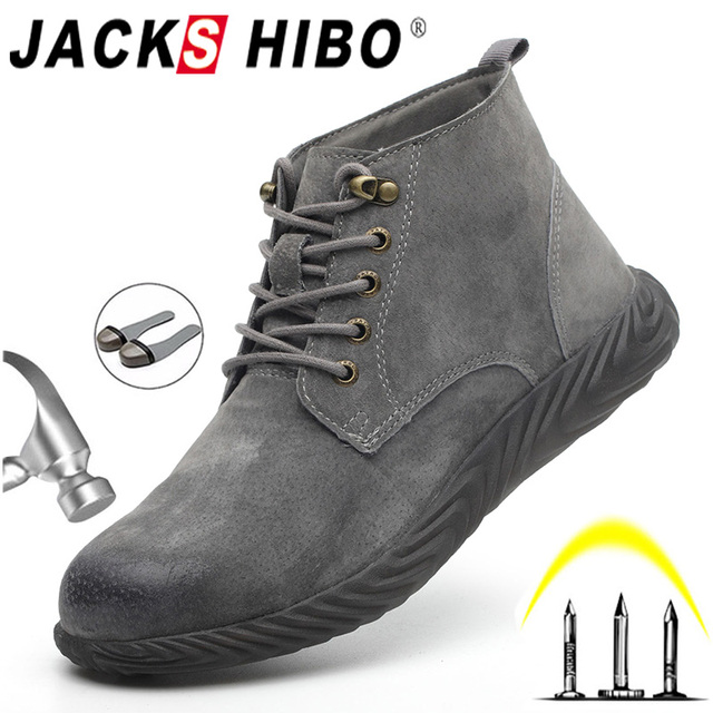 JACKSHIBO Winter Safety Work Boots For Men Anti smashing Steel Toe Safety Ankle Boots Shoes Indestructible Work Shoes Boots