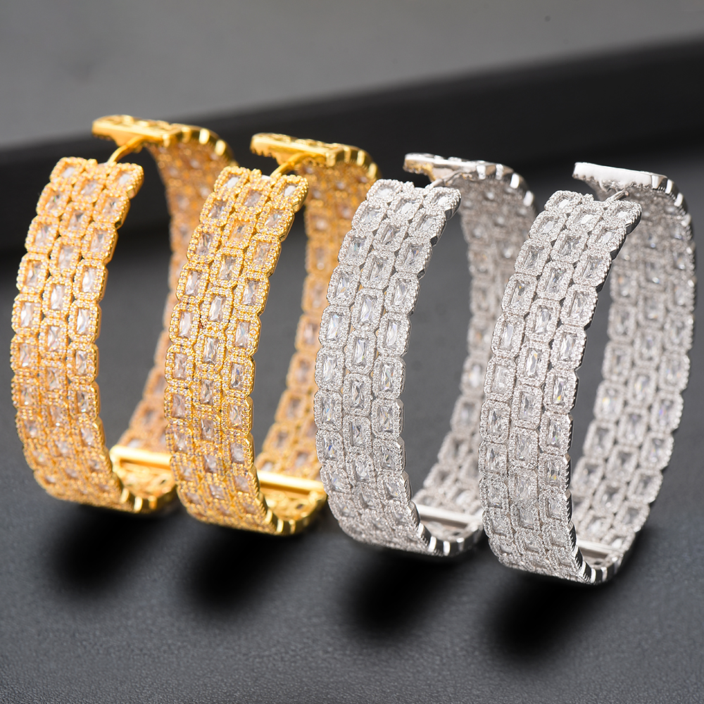 LARRAURI Trendy Big Hoop Earrings For Women Luxury Elegant Cubic Zirconia Naija Nigerian Wedding Bridal Earrings 2020 Jewelry