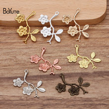 BoYuTe (50 Pieces/Lot) 29MM Metal Brass Stamping Flower Branch Charms Diy Hand Made Jewelry Materials Wholesale(China)