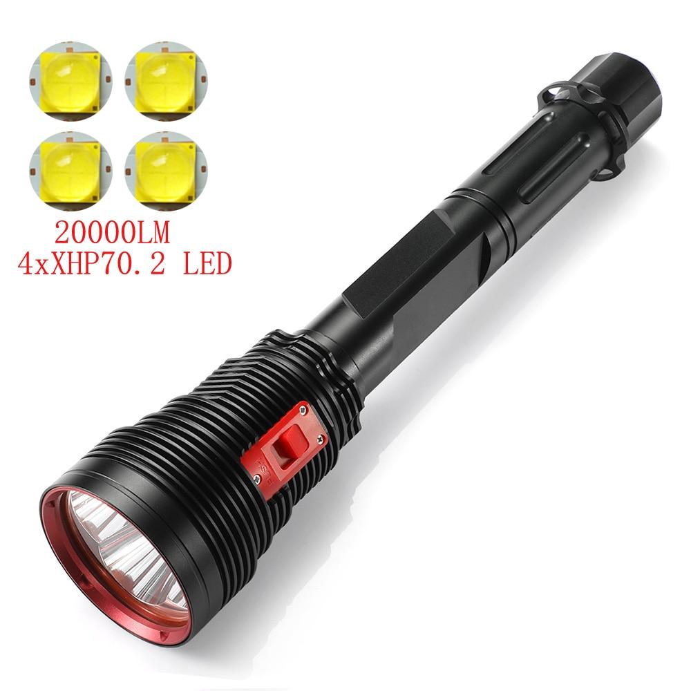 New High Brightness Professional Diving Flashlight 4xXHP70.2 LED Submarine Light Waterproof 200M Diver Torch 16850/26650 Battery